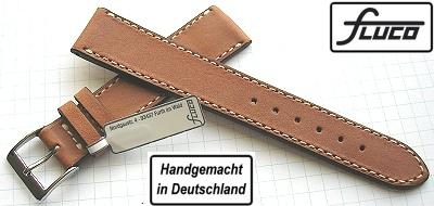 CHRONO ECHTLEDERUHRENARMBAND Swissbreitenverlauf 21-18 mm Schwarz weisse Naht