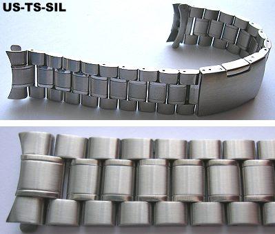 Uhrenarmband Edelstahl 20mm  massive silber Rundanstoss Rund